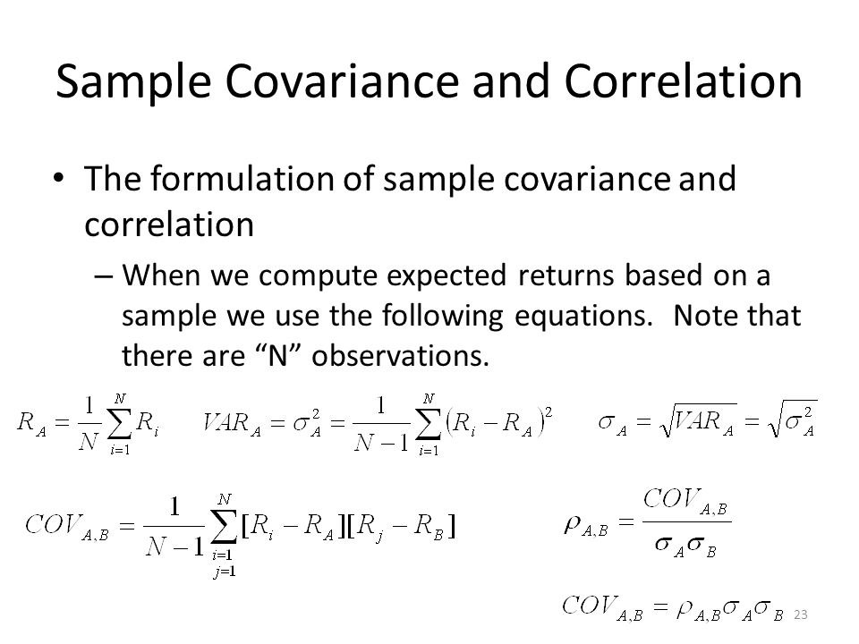 Sample Covariance and Correlation