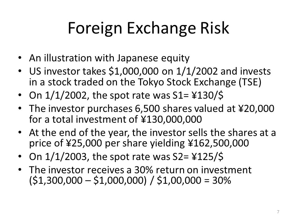 Foreign Exchange Risk An illustration with Japanese equity