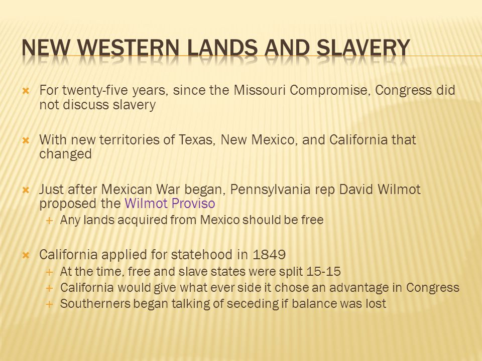 New Western lands and slavery