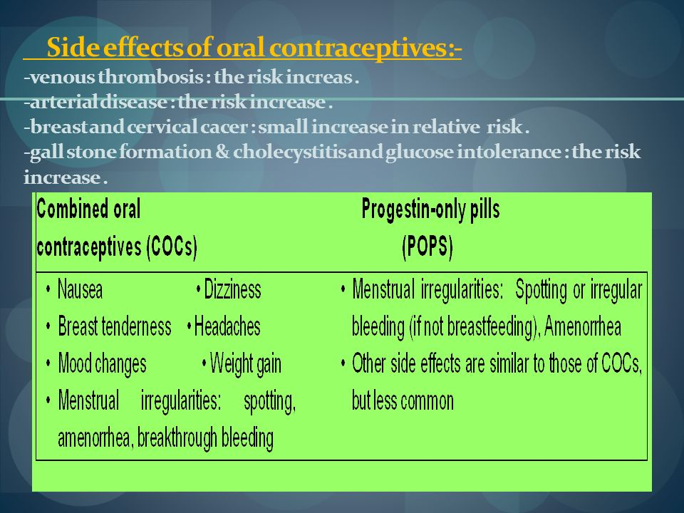 Side effects of oral contraceptives:- -venous thrombosis : the risk increas .