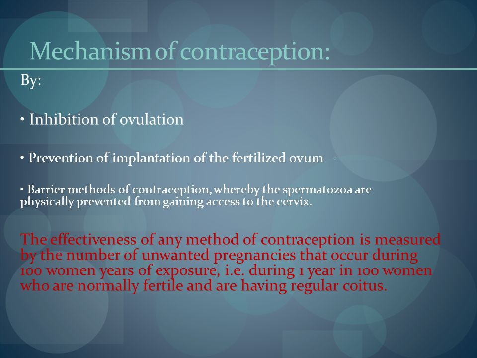 Mechanism of contraception: