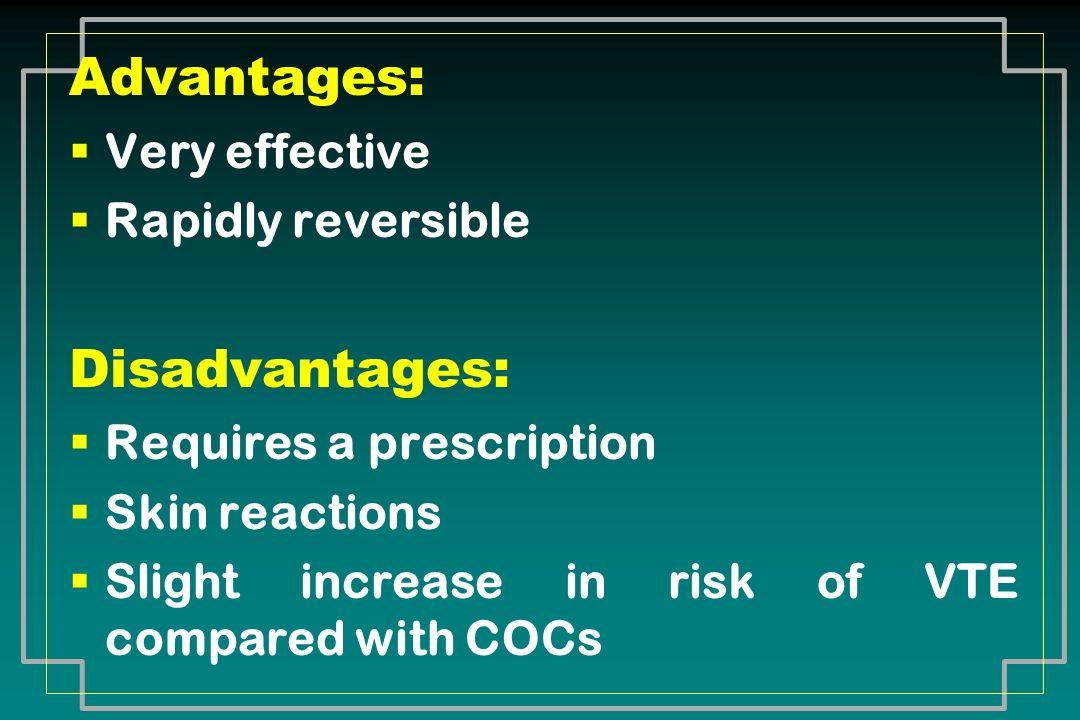 Advantages: Disadvantages: Very effective Rapidly reversible