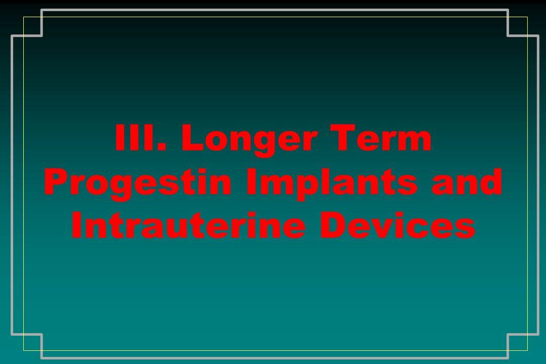 III. Longer Term Progestin Implants and Intrauterine Devices