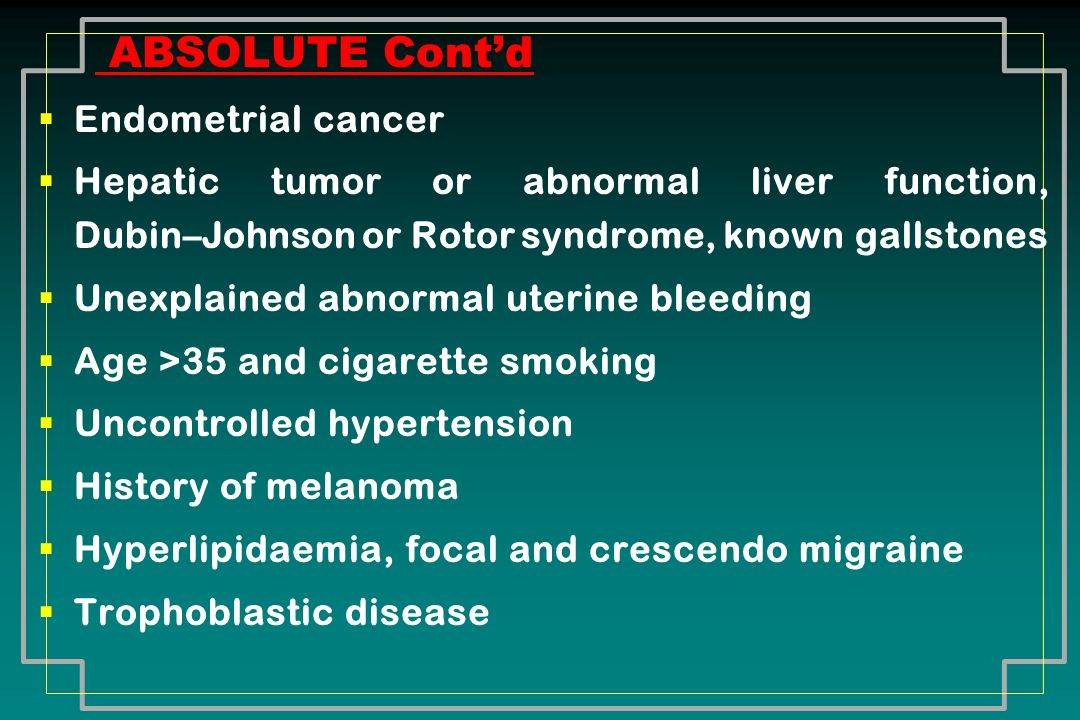 ABSOLUTE Cont'd Endometrial cancer