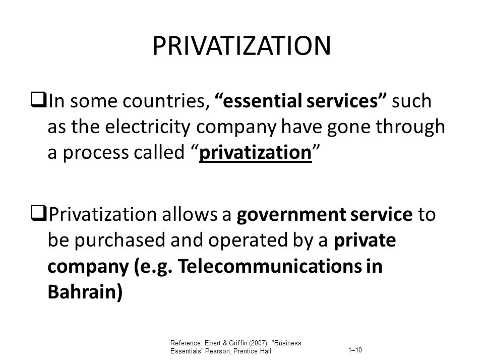 PRIVATIZATION In some countries, essential services such as the electricity company have gone through a process called privatization