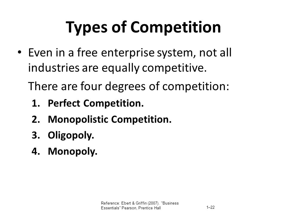 Types of Competition Even in a free enterprise system, not all industries are equally competitive. There are four degrees of competition: