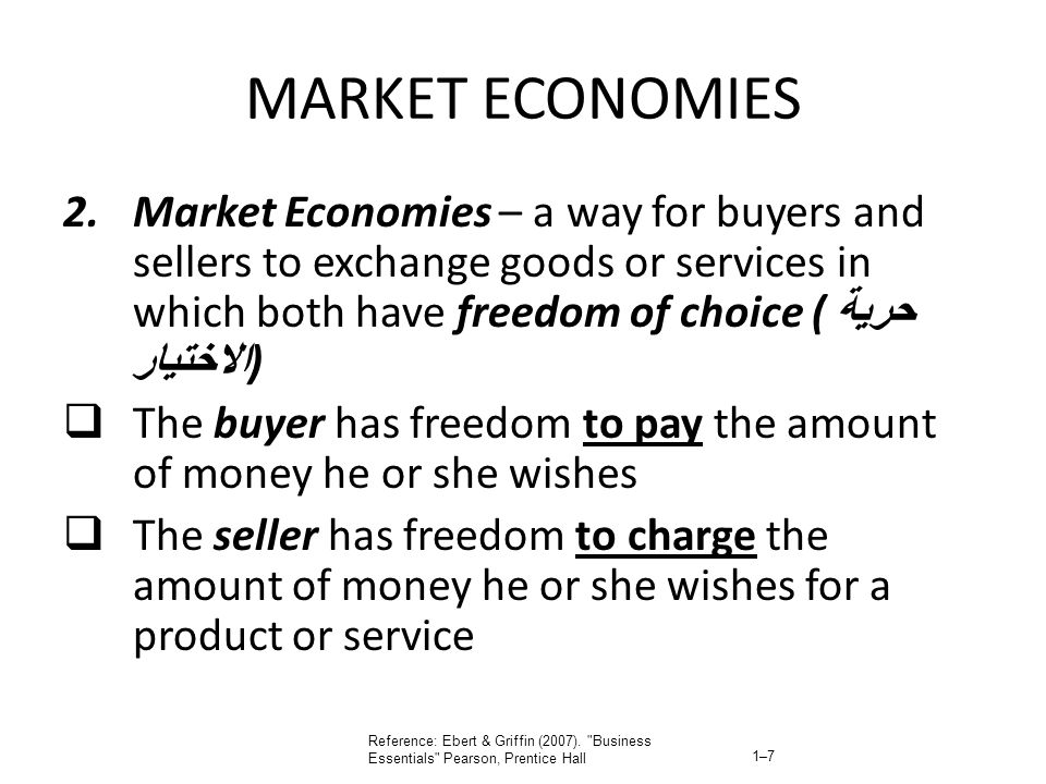 MARKET ECONOMIES Market Economies – a way for buyers and sellers to exchange goods or services in which both have freedom of choice (حرية الاختيار)