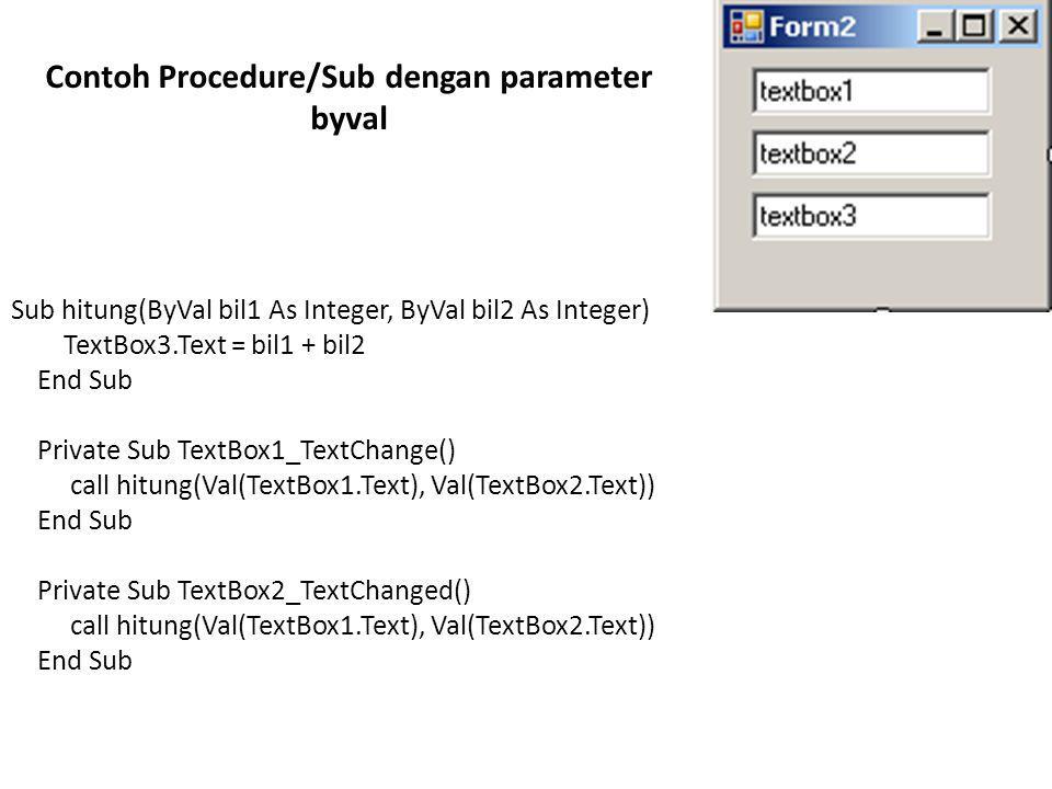 Contoh Procedure/Sub dengan parameter byval