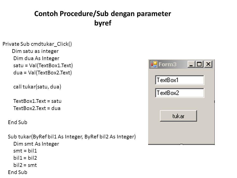 Contoh Procedure/Sub dengan parameter byref