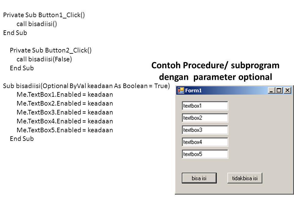 Contoh Procedure/ subprogram dengan parameter optional