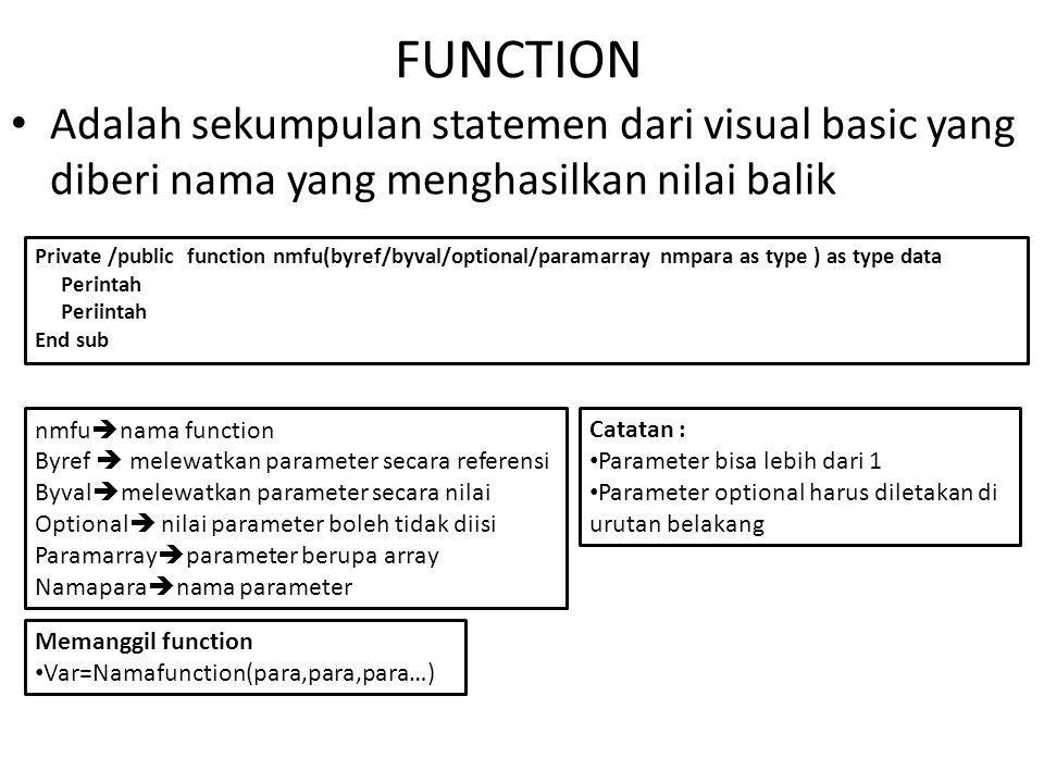 FUNCTION Adalah sekumpulan statemen dari visual basic yang diberi nama yang menghasilkan nilai balik.