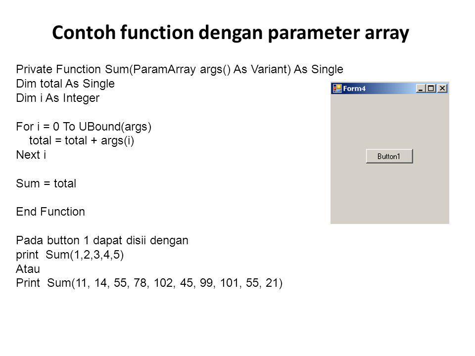 Contoh function dengan parameter array