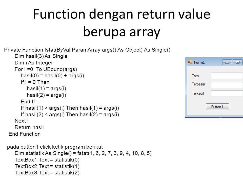 Function dengan return value berupa array