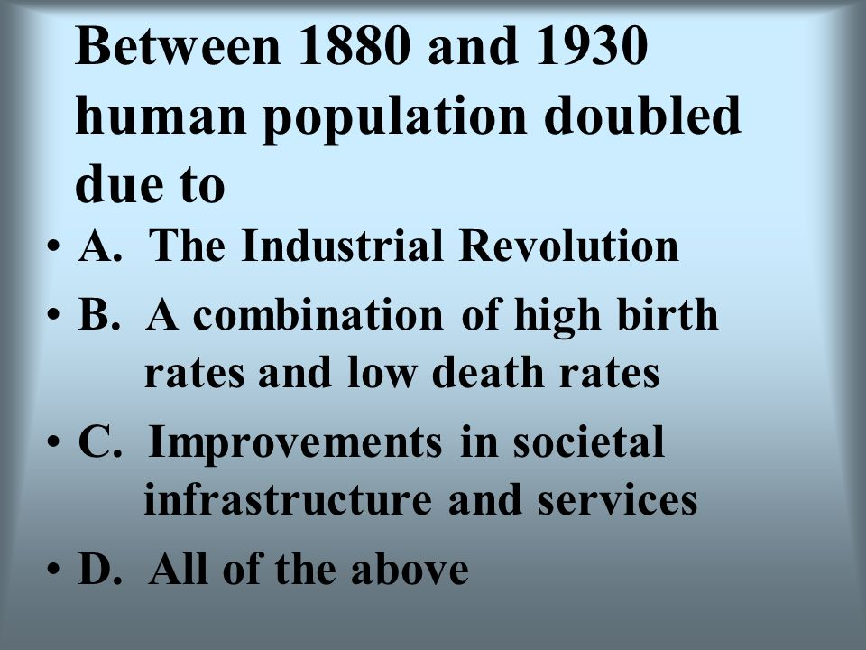Between 1880 and 1930 human population doubled due to