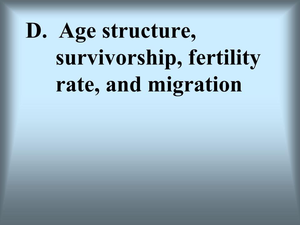 D. Age structure, survivorship, fertility rate, and migration