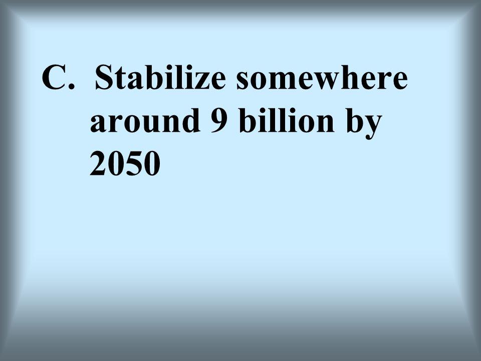 C. Stabilize somewhere around 9 billion by 2050