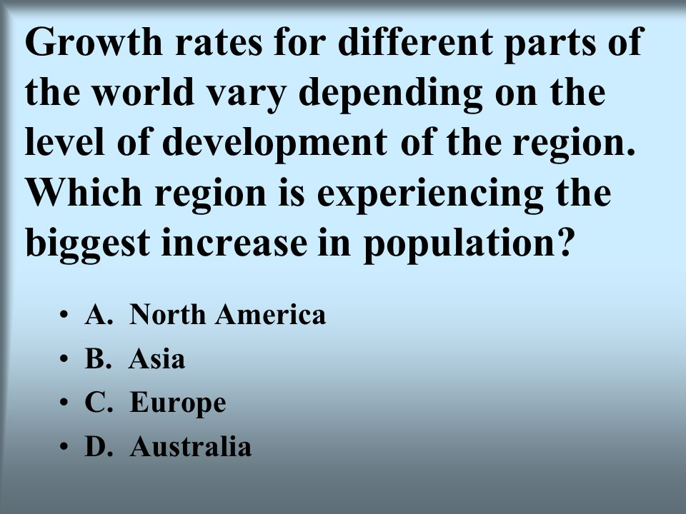 Growth rates for different parts of the world vary depending on the level of development of the region. Which region is experiencing the biggest increase in population