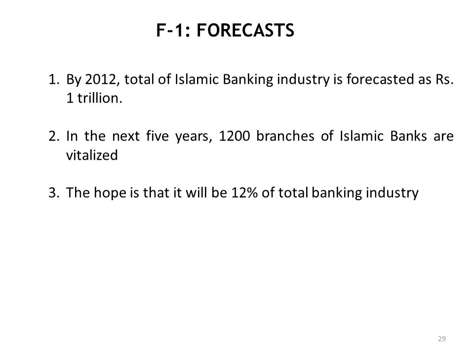 F-1: FORECASTS By 2012, total of Islamic Banking industry is forecasted as Rs. 1 trillion.