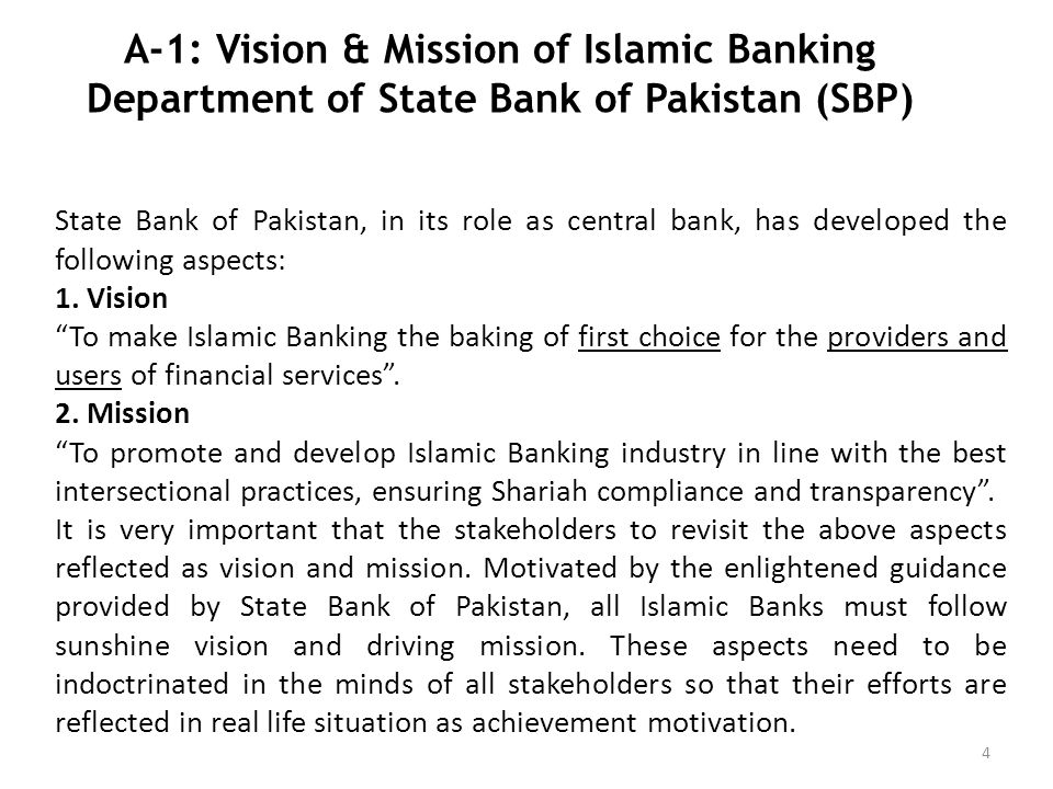 A-1: Vision & Mission of Islamic Banking Department of State Bank of Pakistan (SBP)