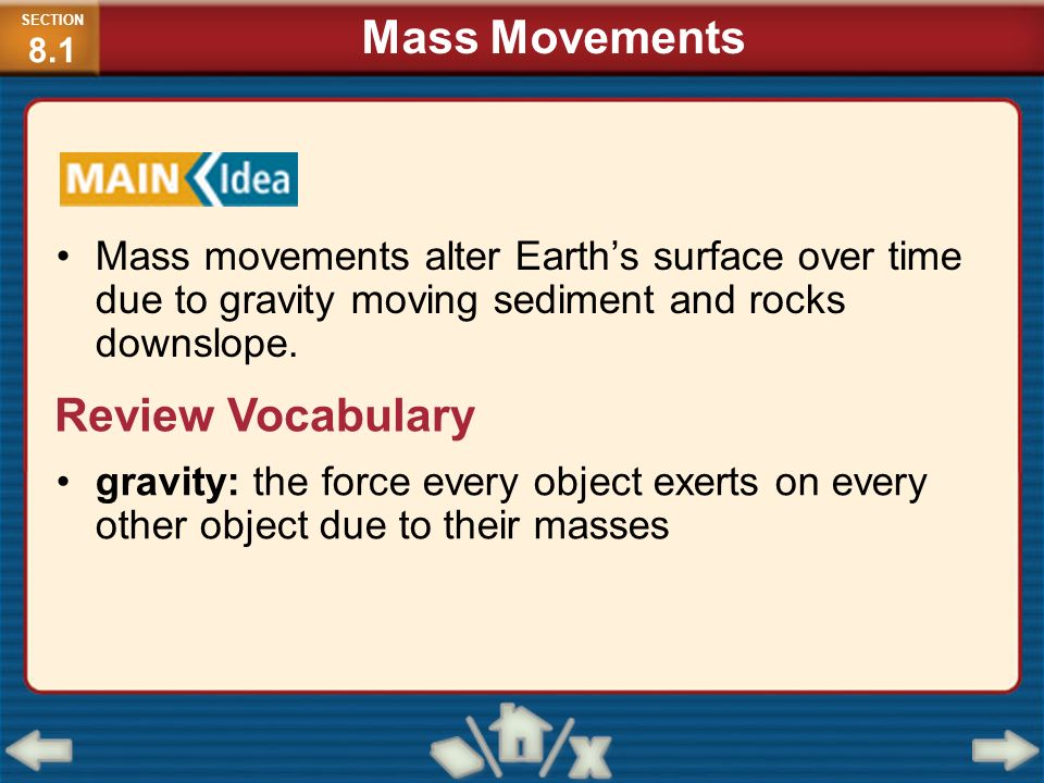 Mass Movements Review Vocabulary
