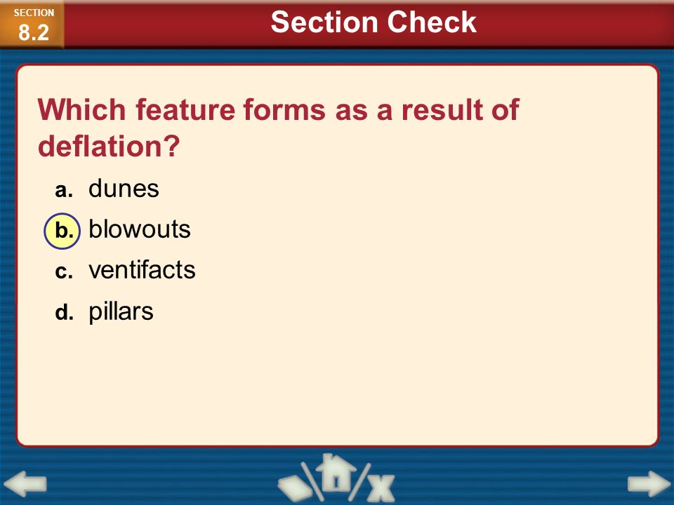 Which feature forms as a result of deflation