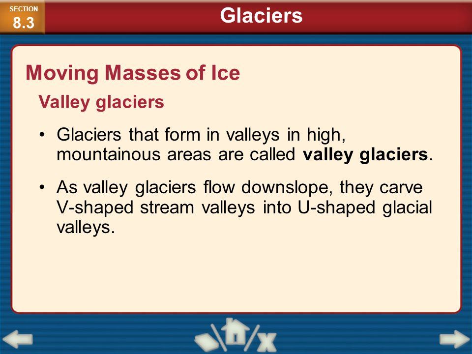 Glaciers Moving Masses of Ice Valley glaciers