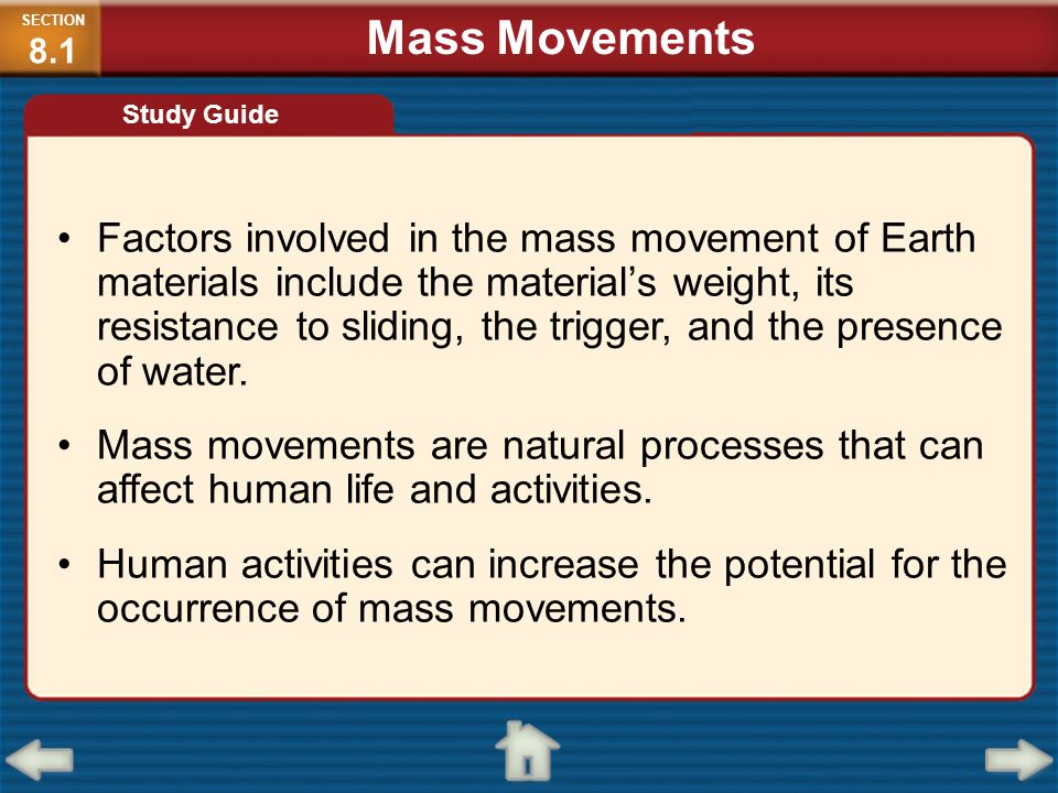 SECTION8.1 Mass Movements. Study Guide.