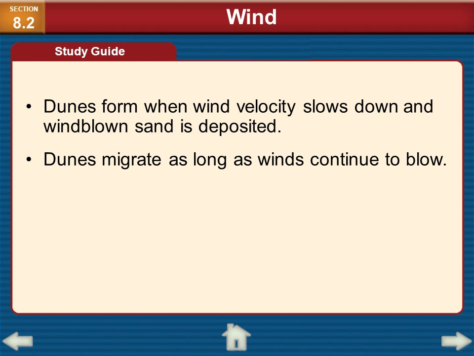 SECTION8.2 Wind. Study Guide. Dunes form when wind velocity slows down and windblown sand is deposited.