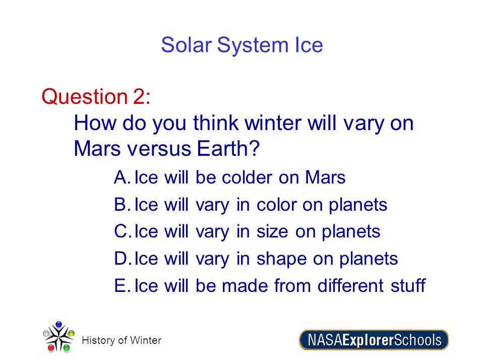 Question 2: How do you think winter will vary on Mars versus Earth