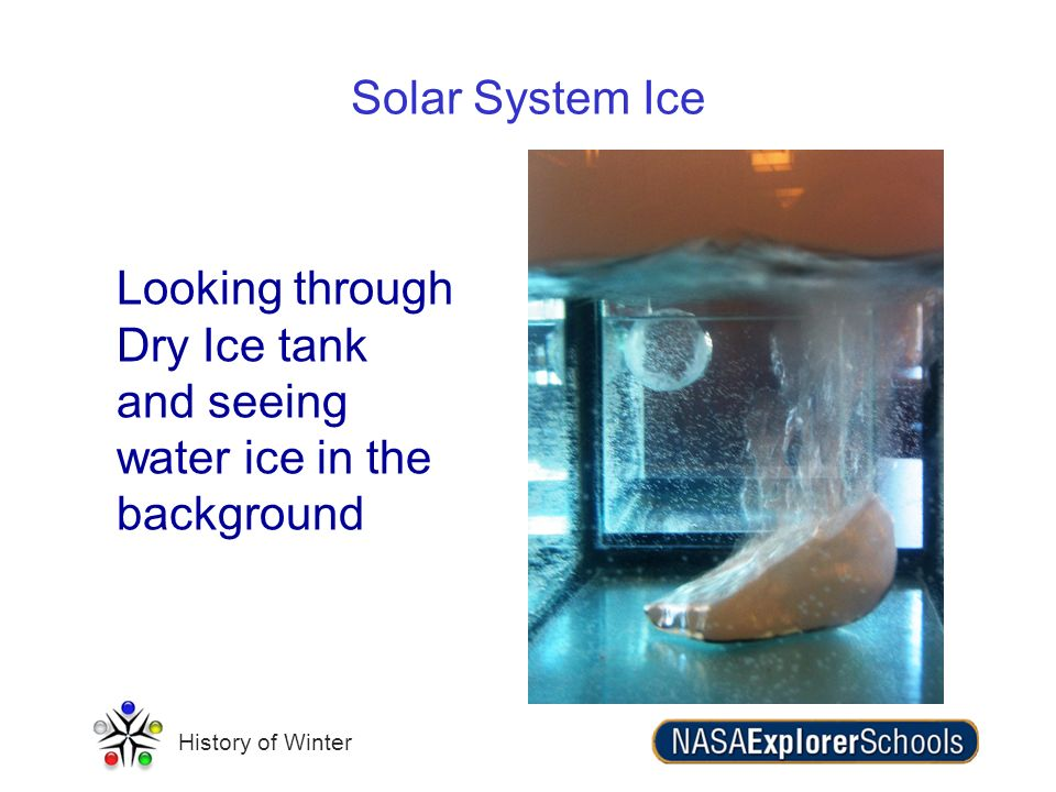 Solar System Ice Looking through Dry Ice tank and seeing water ice in the background