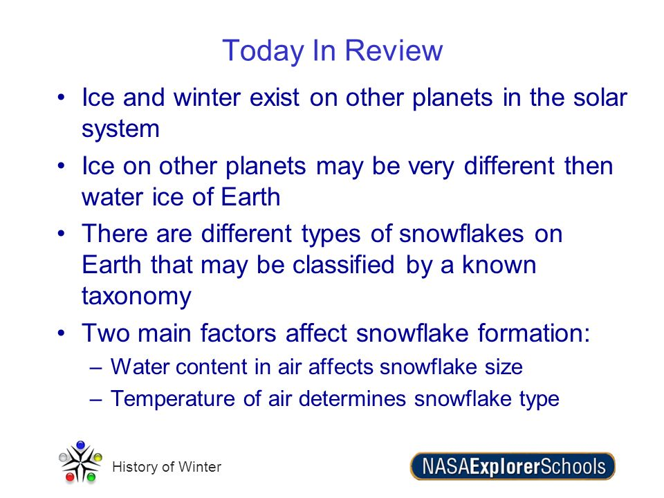Today In Review Ice and winter exist on other planets in the solar system. Ice on other planets may be very different then water ice of Earth.