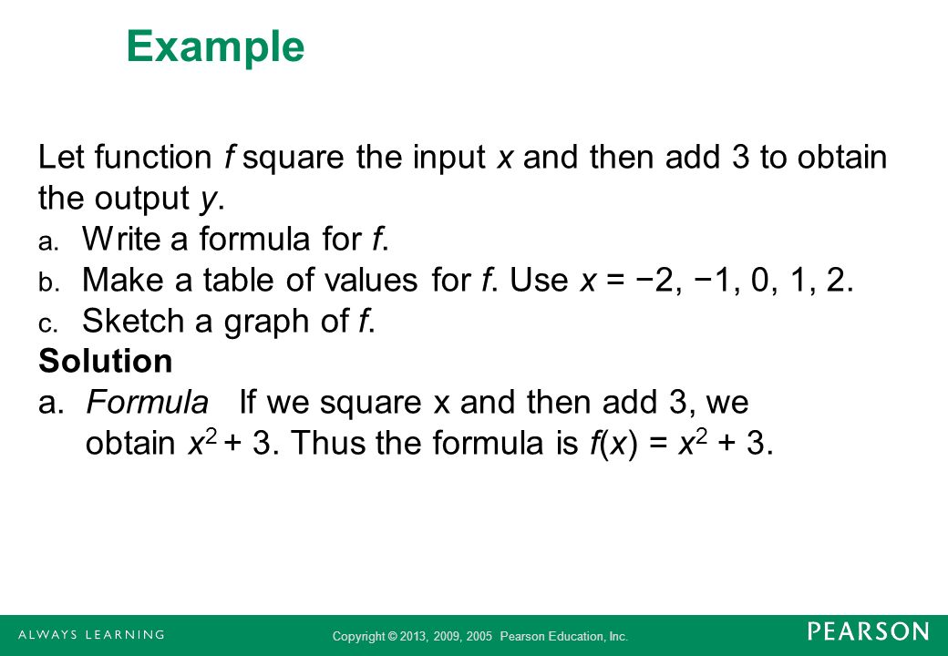 Example Let function f square the input x and then add 3 to obtain the output y. Write a formula for f.