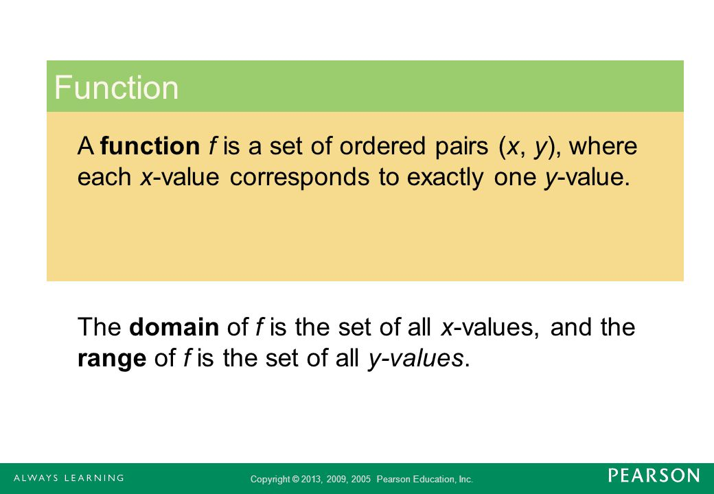 Function A function f is a set of ordered pairs (x, y), where each x-value corresponds to exactly one y-value.
