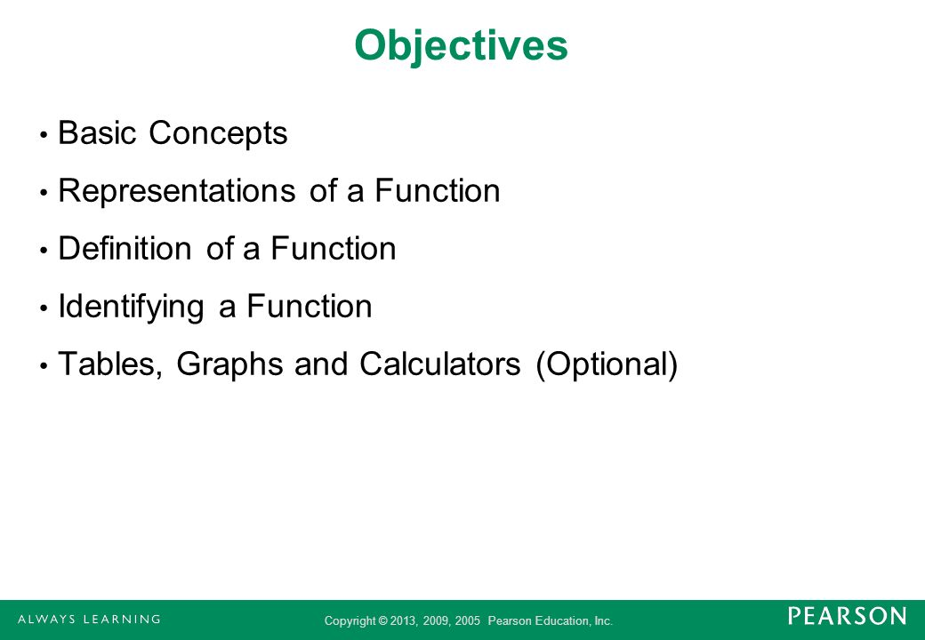 Objectives Basic Concepts Representations of a Function