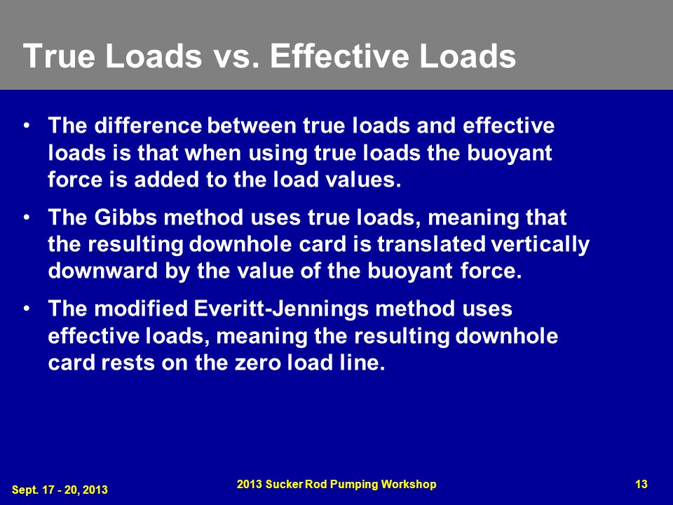True Loads vs. Effective Loads