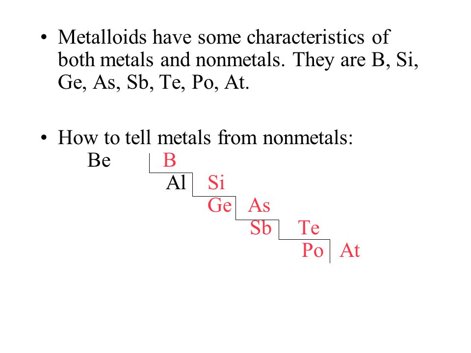 Metalloids have some characteristics of both metals and nonmetals
