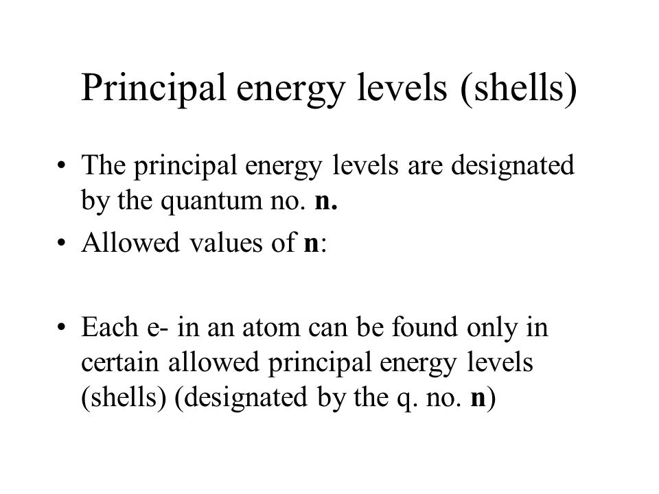 Principal energy levels (shells)