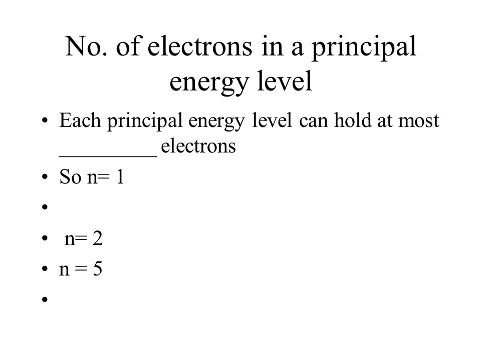 No. of electrons in a principal energy level