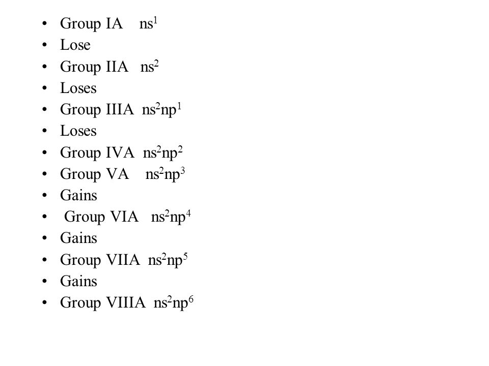 Group IA ns1 Lose. Group IIA ns2. Loses. Group IIIA ns2np1. Group IVA ns2np2. Group VA ns2np3.