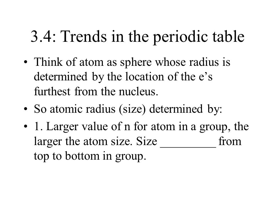 3.4: Trends in the periodic table