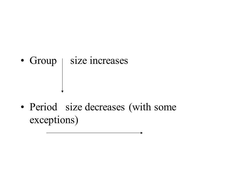 Group size increases Period size decreases (with some exceptions)
