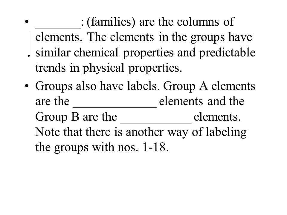 _______: (families) are the columns of elements