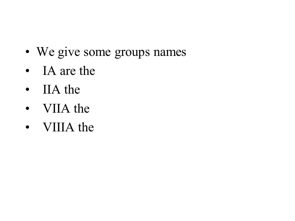 We give some groups names