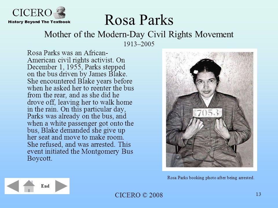 Rosa Parks Mother of the Modern-Day Civil Rights Movement 1913–2005