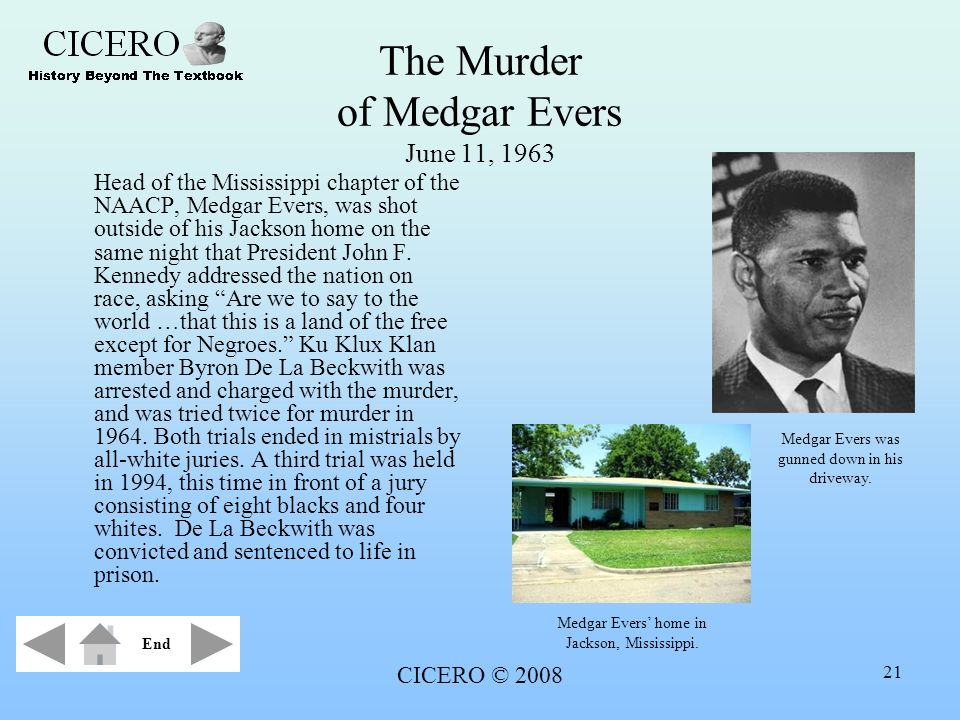The Murder of Medgar Evers June 11, 1963
