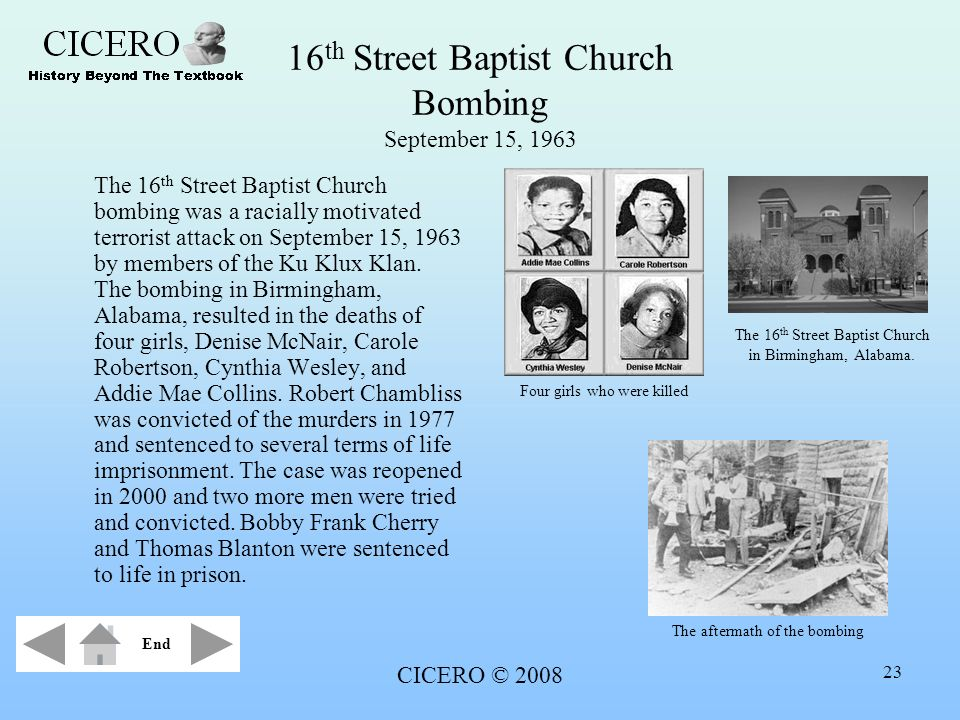 16th Street Baptist Church Bombing September 15, 1963