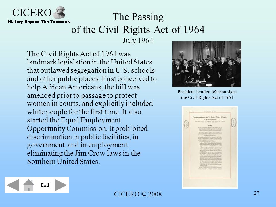 The Passing of the Civil Rights Act of 1964 July 1964