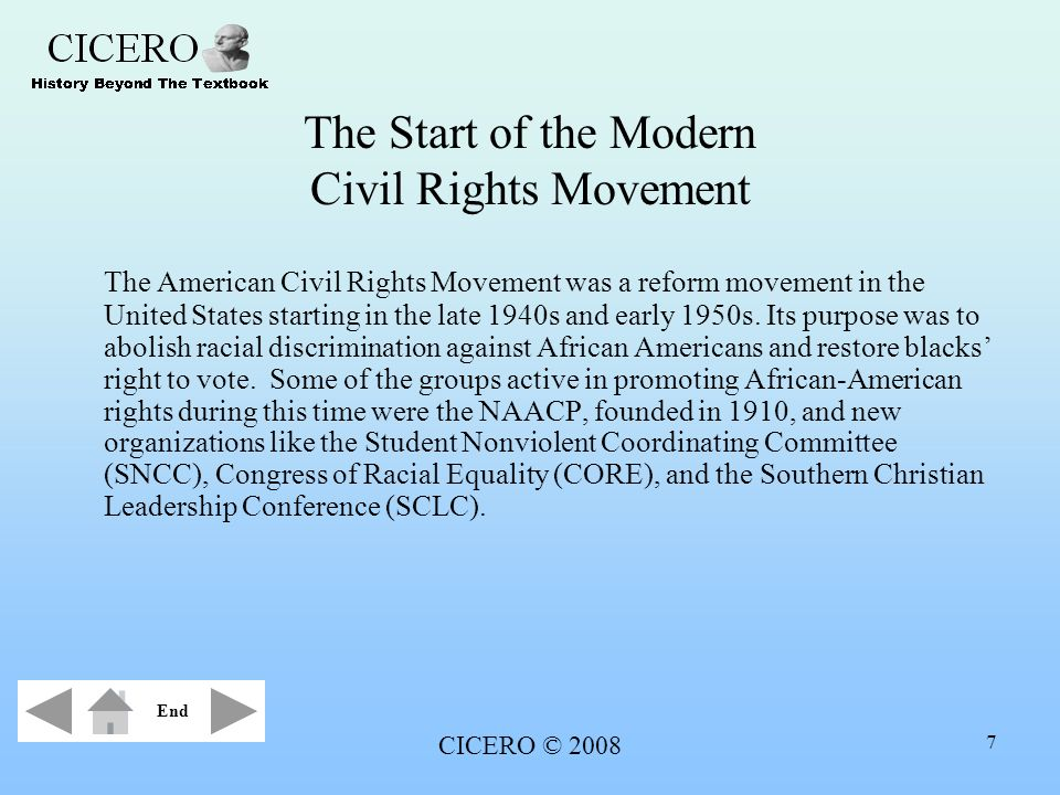 an analysis of the modern civil rights movement in the united states Many history textbooks characterize the civil rights era as a  call the modern civil rights movement was  of civil rights laws, and the states ratified.