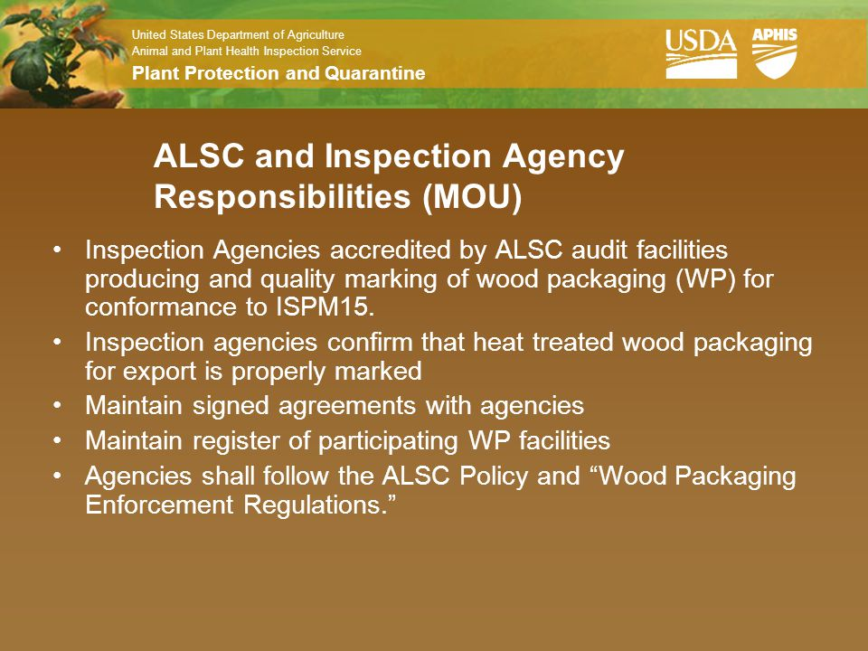 ALSC and Inspection Agency Responsibilities (MOU)