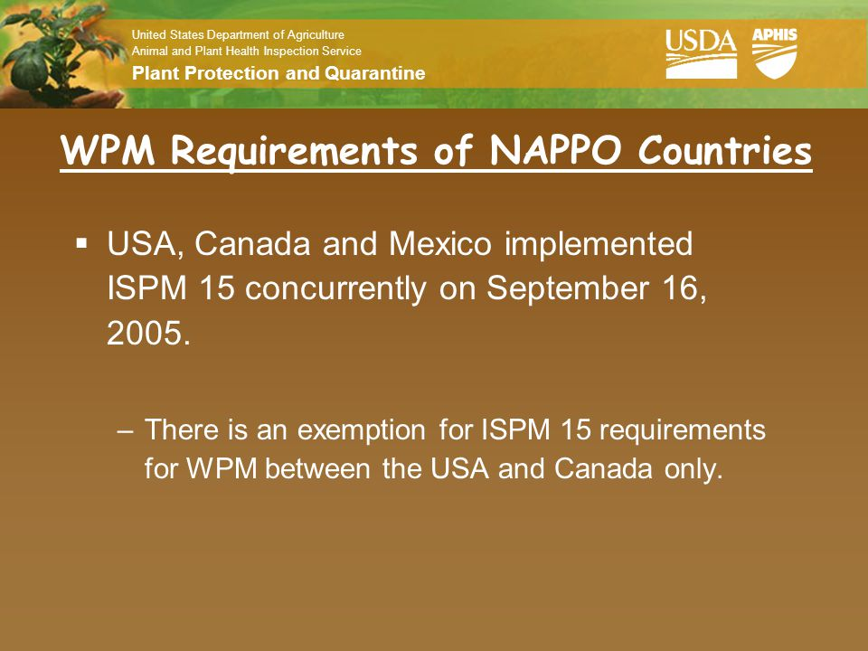 WPM Requirements of NAPPO Countries